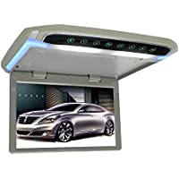 MiCarBa10.1インチ薄型フリップダウンモニター 高画質1080P TFT液晶フリップダウンモニター HDMI MicroSD MP3 MP4対応 LED バックライト付き FMトランスミッター内蔵リアモニター (CL102HD-灰色)