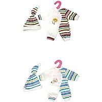 SONONIA 2セット ハーフ ストライプ ジャンプスーツ  + ハット パジャマ  衣類  14-16インチ人形用