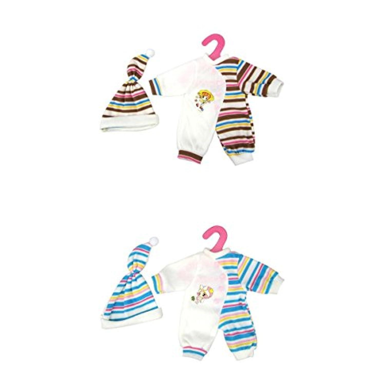 Dovewill 14-16インチ人形対応 ジャンプスーツ 帽子 パジャマ 2セット入り