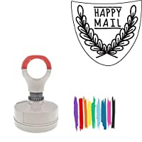 Happy Mail Shield Shape With Leafy Branches Round Badge Style Pre-Inked Stamp, Red Ink Included