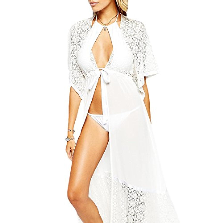 cm-lightレディースセクシービキニカバーアップシフォンBeachwear Long Robe Sleepwearブラックホワイト