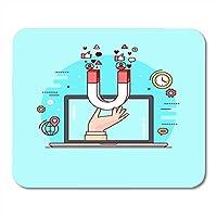マウスパッドラインスタイルカラフルなコンセプトのデジタルマーケティングの社会的なキャンペーンのフォロワーに従事ノートブック、デスクトップコンピューターマットオフィス用品の明るいコンテンツマウスパッド