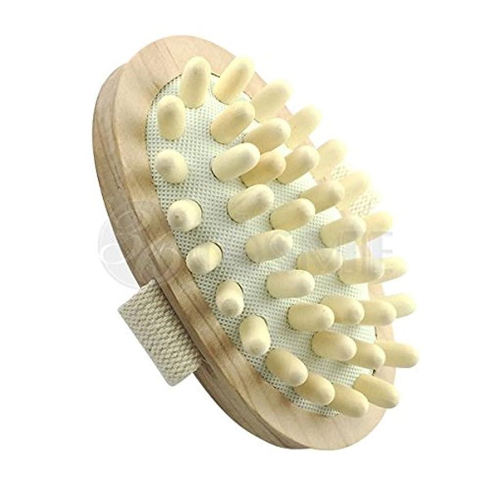 料理ペルメル依存スリミングウッドブラシ(木製)セルライト対策に ボディマッサージ専用ブラシ