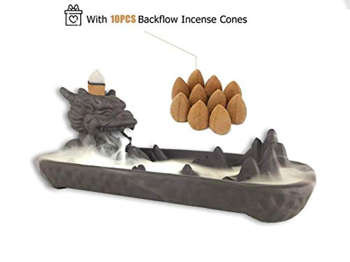 コンテンポラリー汚染された無条件(Black) - Dragon Ceramic Backflow Incense Burner with Incense Cones for Home Decor (Black)