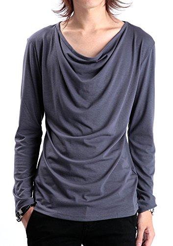 (ロシェル) roshell ドレープロンT メンズ 長袖 Tシャツ カットソー 無地 V系 モード系 M グレー