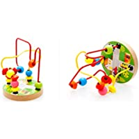 Joyeee Multicolor Wooden Bead Roller Coaster 4 - Transportation Pattern - Compact Size Early Education Beads Maze Toys for Your Kids - Perfect Christmas Gift Ideas