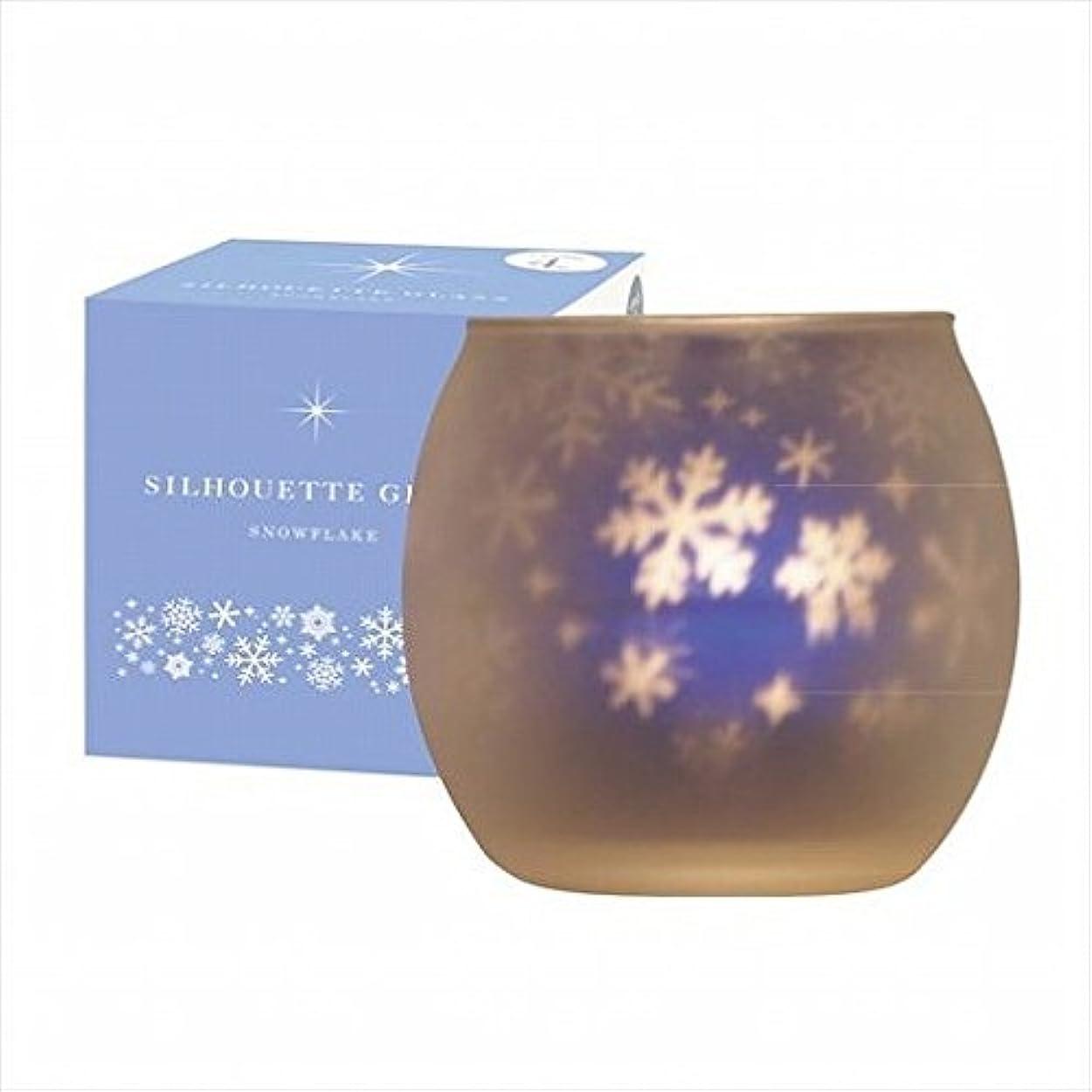 秋苦情文句機関車kameyama candle(カメヤマキャンドル) スノーフレークシルエットグラス【キャンドル4個付き】(J1001022)