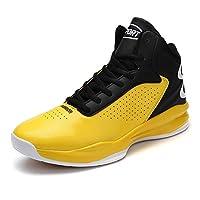[ZUBOK] バスケットシューズ メンズ ジュニア スニーカー ハイカット 運動靴 ランニングシューズ スポーツ 防滑 通気 おしゃれ (25.5cm, イエロー)
