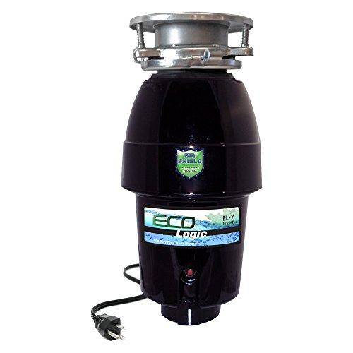 eco-logic 7mid-duty 1/ 2HP 3-boltディスポーザー ブラック EL-7-3B