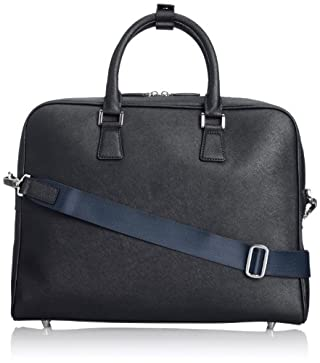 Leather Slim Briefcase 1332-699-4010: Navy