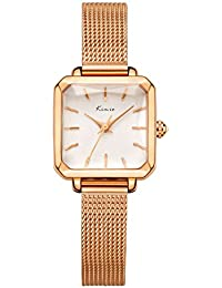 KIMIO K6236 レディース 腕時計 おしゃれ 日本製クオーツ ファッション シンプル 時計 女性用 watch women (ゴールドバラ)