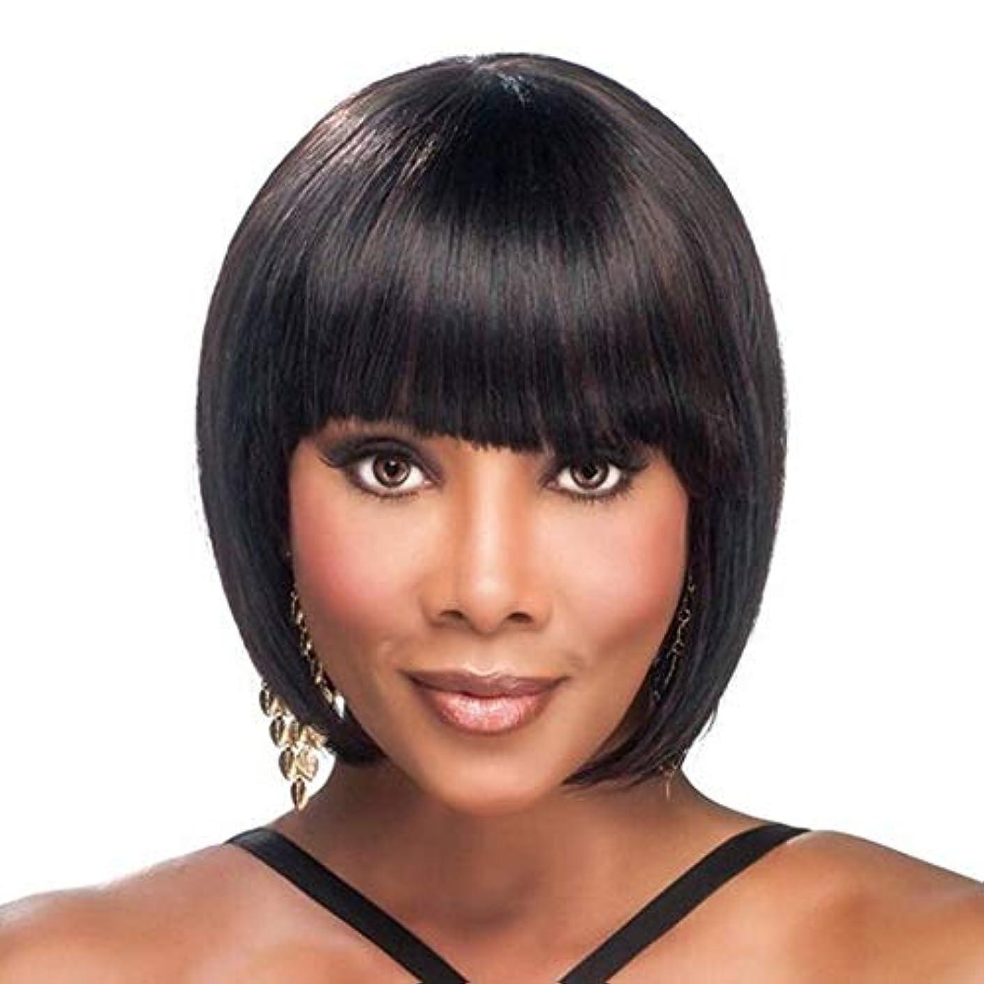 シルク次へ印象的WASAIO 女性レディースショートストレートウィッグナチュラルブラックヘア (色 : 黒)