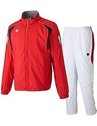 デサント(DESCENTE) ウインドジャケット&パンツ 上下セット(レッド/ホワイト) DRN-3710-RED-DRN-3710P-WHT