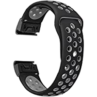 YOOSIDE for Fenix 5/Forerunner 935 Watch Band, 22mm Silicone Sport Quick Fit Easy Release Sweatproof Strap for Gamin Fenix 5/5 Plus/Forerunner 935/Approach S60,Fit Wrist 6.9~8.8in,Black-Grey