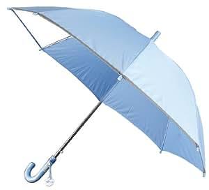 KIDS用ジャンプ傘 透明窓付&反射テープ付 丈夫なグラスファイバー骨使用 名札付 ポンジー無地 水色 1235