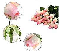 Yuanyuxi本物の手の感触ローズ造花シングル恋人ローズシミュレーションローズバレンタインデーブーケ家の装飾花@ピンク