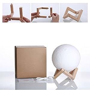 装飾的なランプ、3Dの月のランプLED充電式ナイトライトは、ベッドサイドの装飾に使用することができます。 (Size : S)
