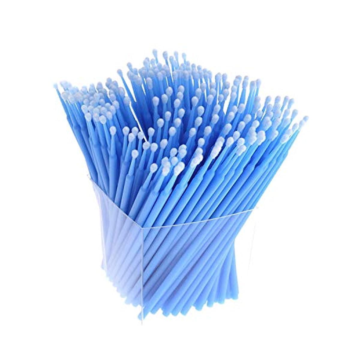 切断する気づくなる学んだSODIAL 200本、アプリケーター、まつげ用綿棒、マイクロ-ブラシ、使い捨てマイクロ-ブラシ、延長化粧工具-青色