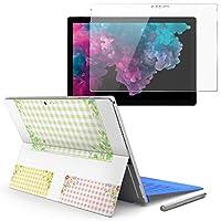 Surface pro6 pro2017 pro4 専用スキンシール ガラスフィルム セット 液晶保護 フィルム ステッカー アクセサリー 保護 フラワー チェック ピンク 009350
