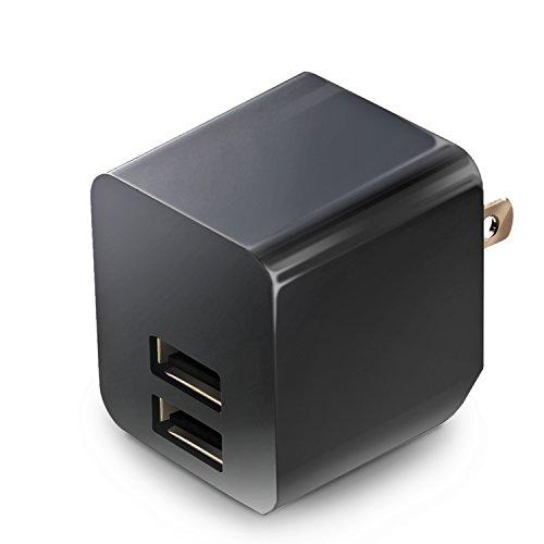 エレコム 充電器 ACアダプター 【iPhone & iPad & Android & IQOS & glo 対応】 折畳式プラグ USBポート×2 (2.4A出力) 長寿命設計 ブラック MPA-ACUEN000ABK