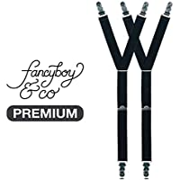 FancyBoy Men's Premium Shirt Stays: Adjustable Y-Style With Soft Rubber Grips
