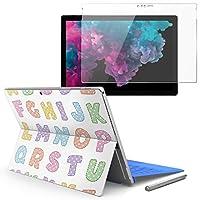 Surface pro6 pro2017 pro4 専用スキンシール ガラスフィルム セット 液晶保護 フィルム ステッカー アクセサリー 保護 アルファベット 英語 013179