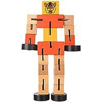 Goldenfox ベビートイ 木製 車の変形ロボット 子供 教育 面白いゲーム ギフト オレンジ GSVM033701_OR