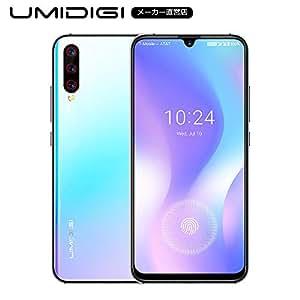 UMIDIGI X SIMフリースマートフォン 画面内蔵指紋センサー 6.35インチ 大画面 有機ELディスプレイ48MP+8MP+5MPトリプルアカラ 4GB RAM + 128GB R0M Helio P60オクタコア 4150mAh大容量バッテリー 18W高速充電 Android 9.0 顔認証 技適認証済み au不可 (ブルー)