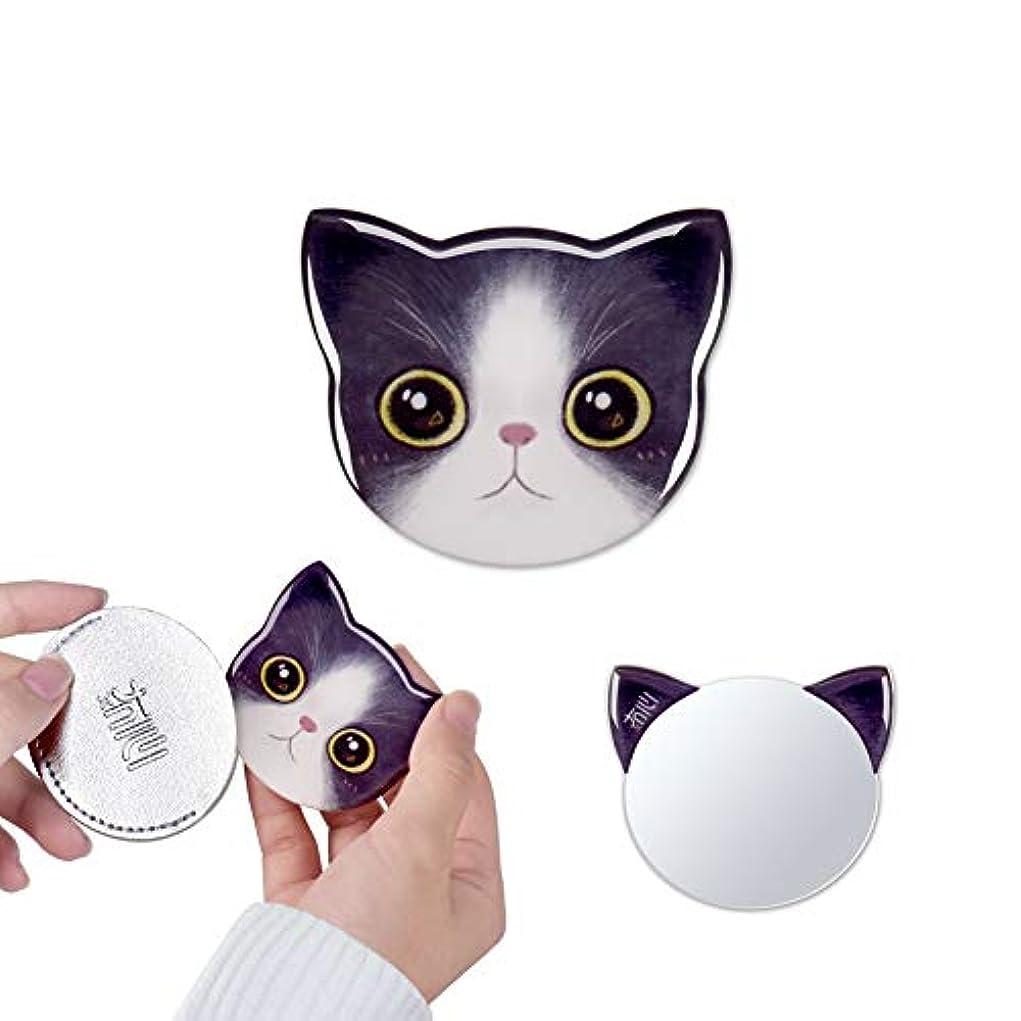 リーチ知事必須携帯ミラー 手鏡 コンパクト 猫柄 8パタン 収納袋付き 割れない 鏡 おしゃれ コンパクトミラー ハンドミラー かわいい (ハナ)