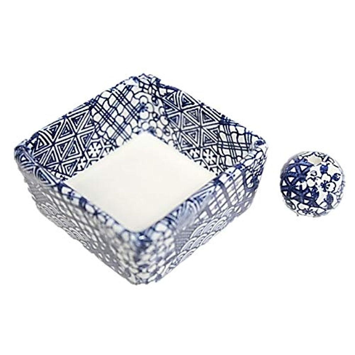 威するちらつきエージェント和モダン 五条 お香立て 陶器 角鉢 製造直売品