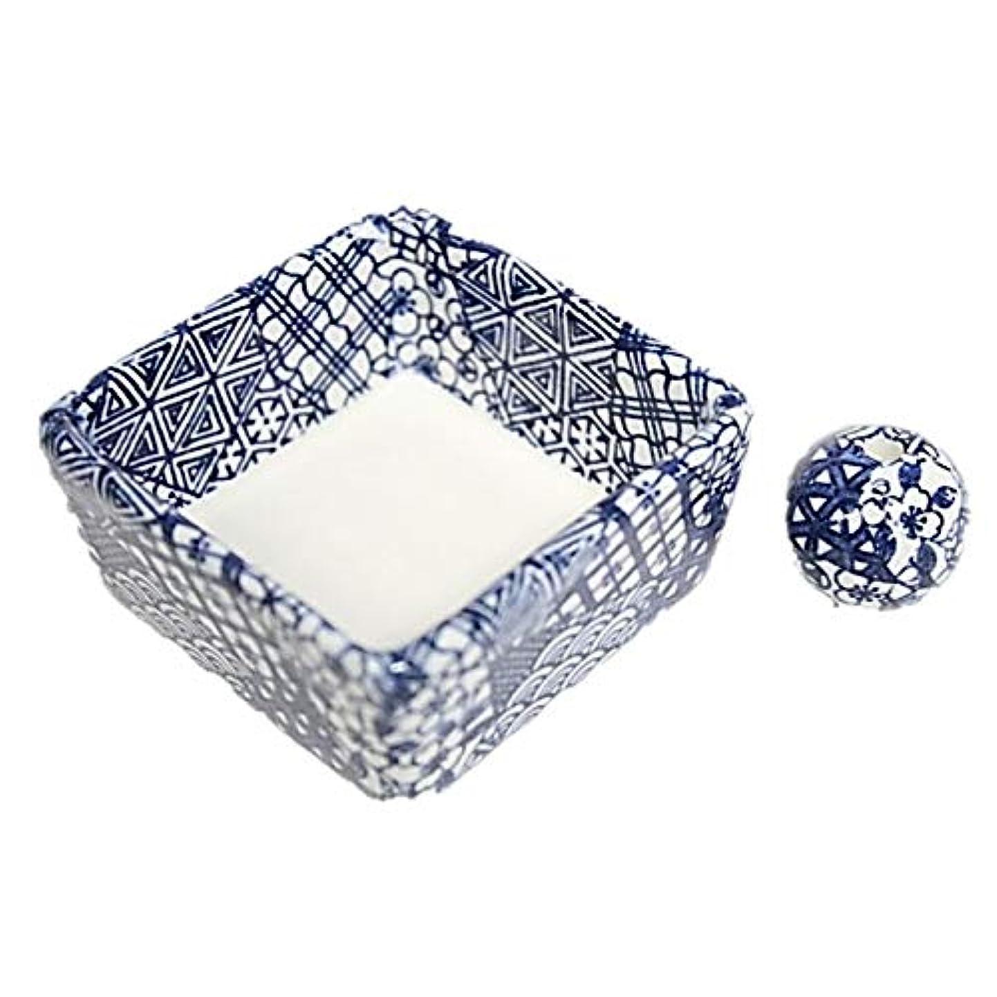 揺れる写真を描く十分に和モダン 五条 お香立て 陶器 角鉢 製造直売品