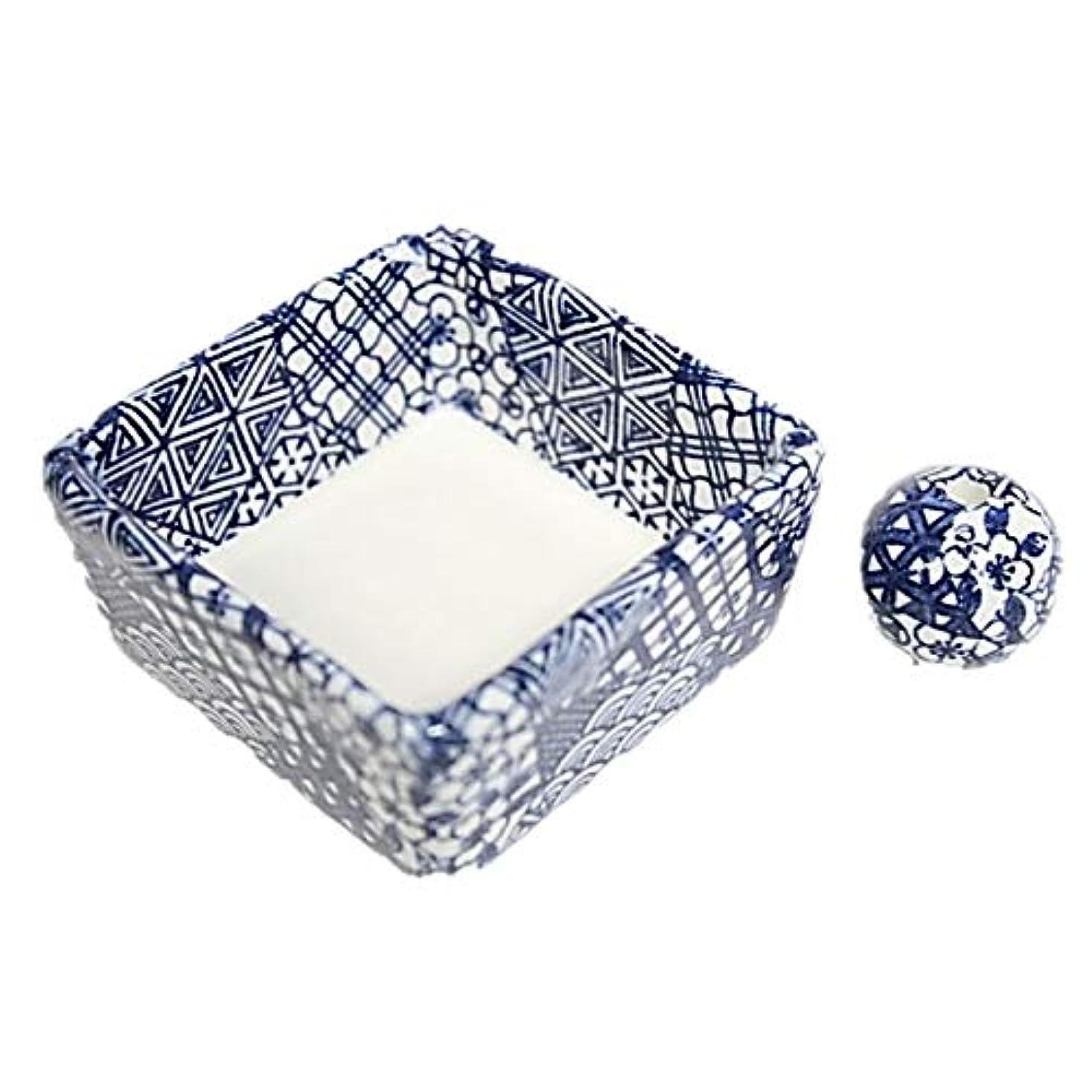 和モダン 五条 お香立て 陶器 角鉢 製造直売品