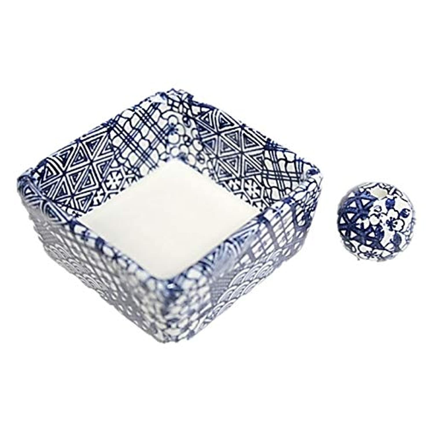 長椅子シャープハンサム和モダン 五条 お香立て 陶器 角鉢 製造直売品