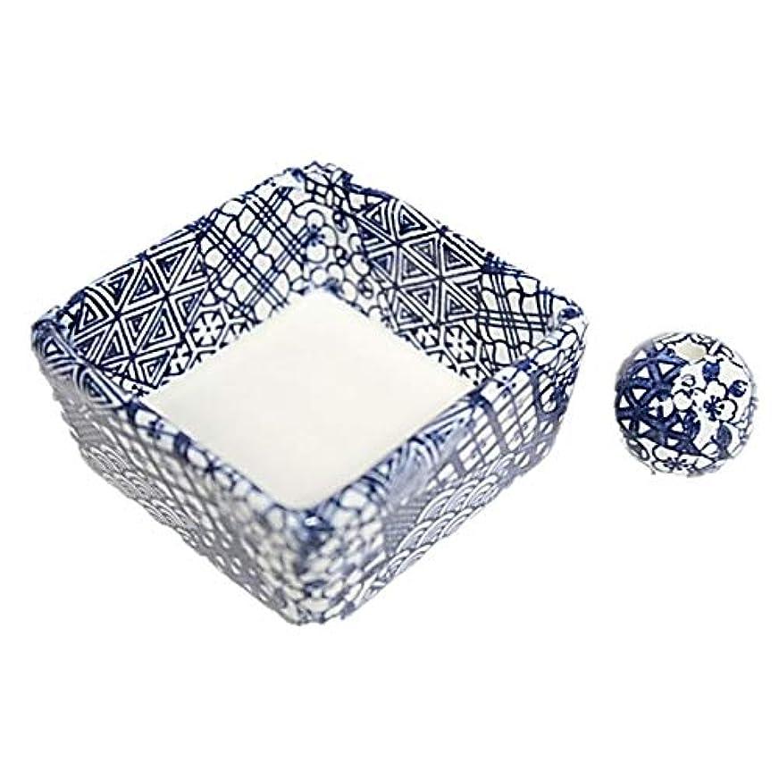ビザ突破口鑑定和モダン 五条 お香立て 陶器 角鉢 製造直売品