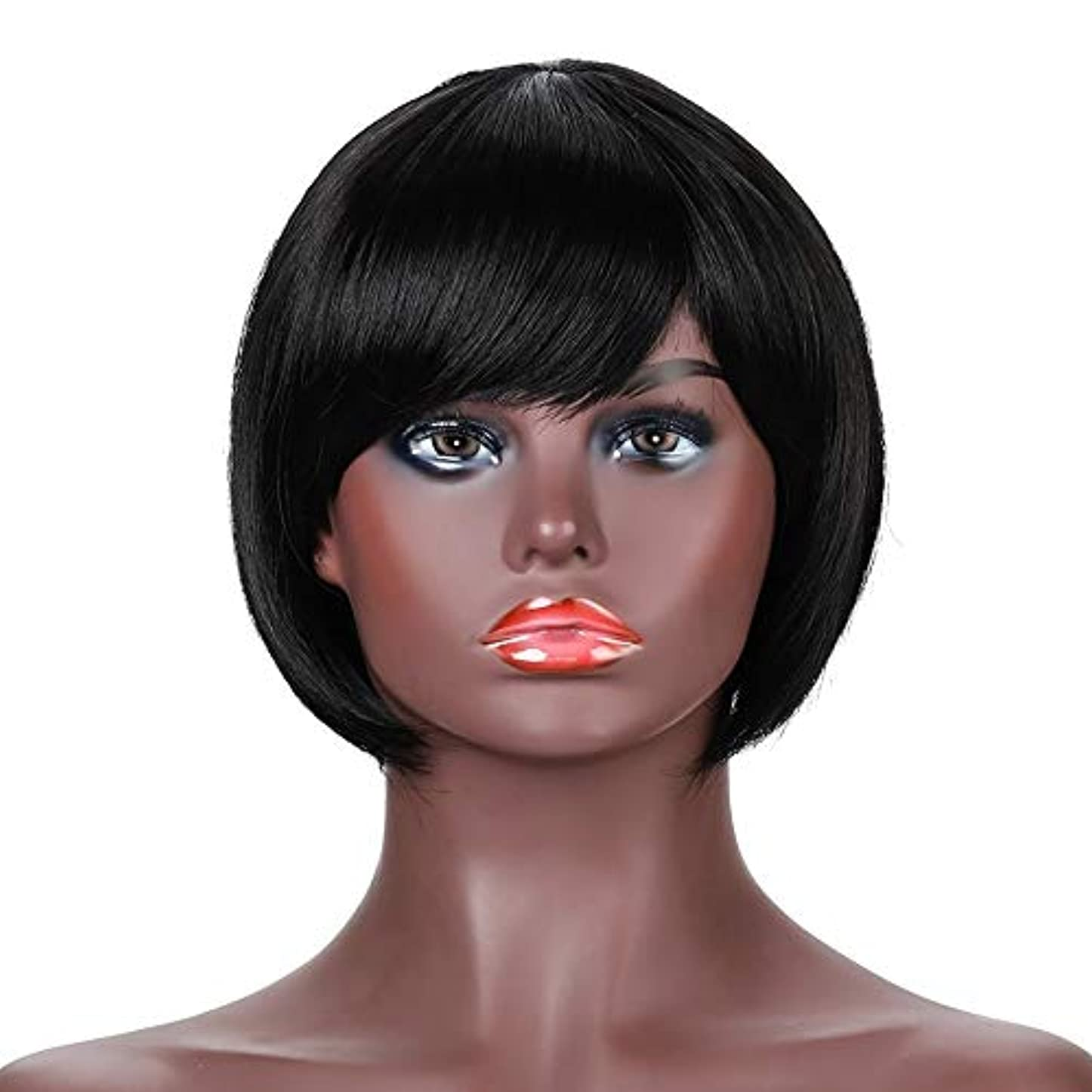 引退する黒葉巻女性用ナチュラルブラックショートカーリーヘアウィッグ前髪リアル人毛ウィッグ合成フルヘアウィッグ女性用ハロウィンコスプレパーティーウィッグ