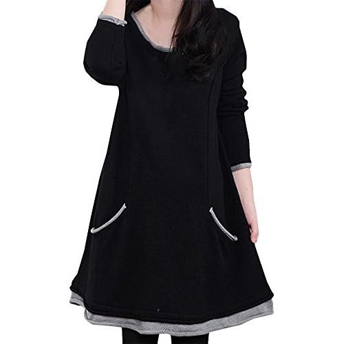 (ヴォンヴァーグ) ventvague ふんわり かわいい 裏起毛 暖か Aライン 紺 黒 L XL ワンピース レディース (3XL, ブラック)