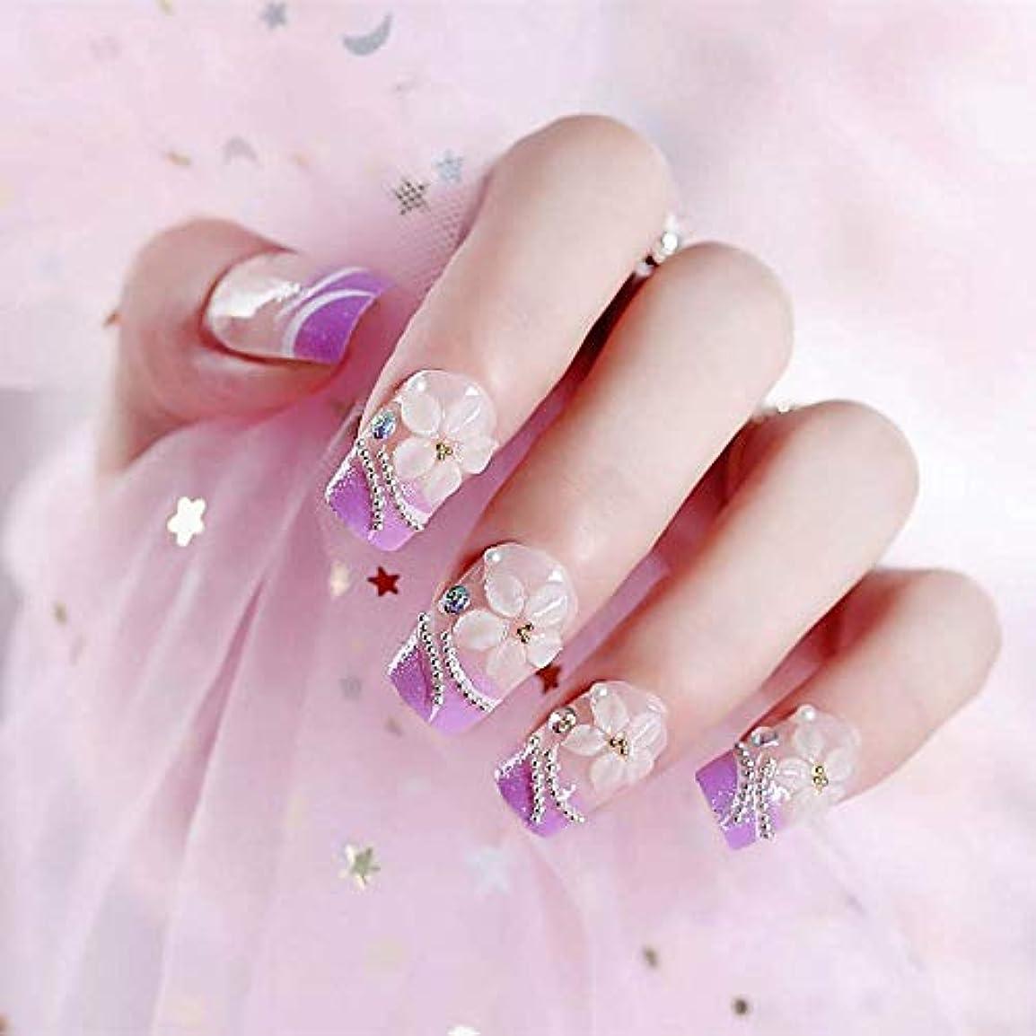 幸福退屈デジタルXUTXZKA 24ピースロングサイズライトパープルカラー偽??爪花彫刻天然偽爪女性ファッションネイルアートのヒント
