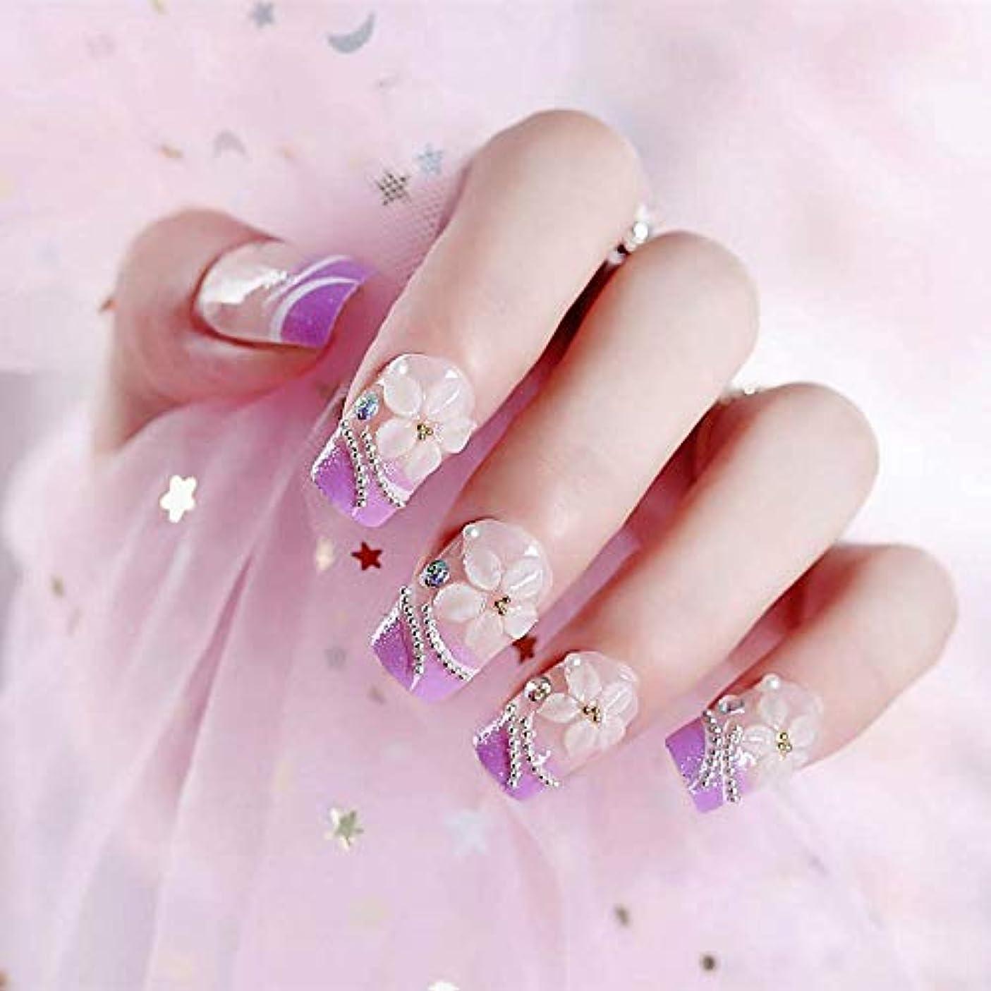 いわゆる豆望みXUTXZKA 24ピースロングサイズライトパープルカラー偽??爪花彫刻天然偽爪女性ファッションネイルアートのヒント