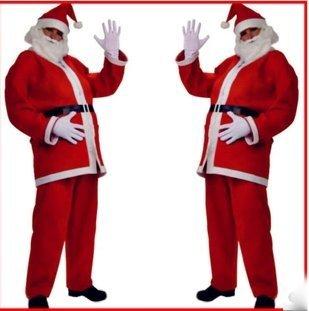 今夜はパーティー!サンタクロース  衣装 豪華5点 フルセット ! コスチューム コスプレ (170cm〜180cm)