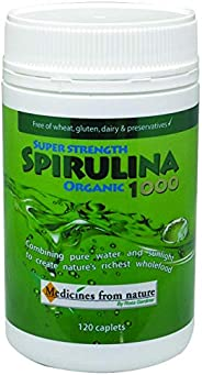 Medicines from Nature Super Strength Organic Spirulina 1000 120 Caplets, 120 count