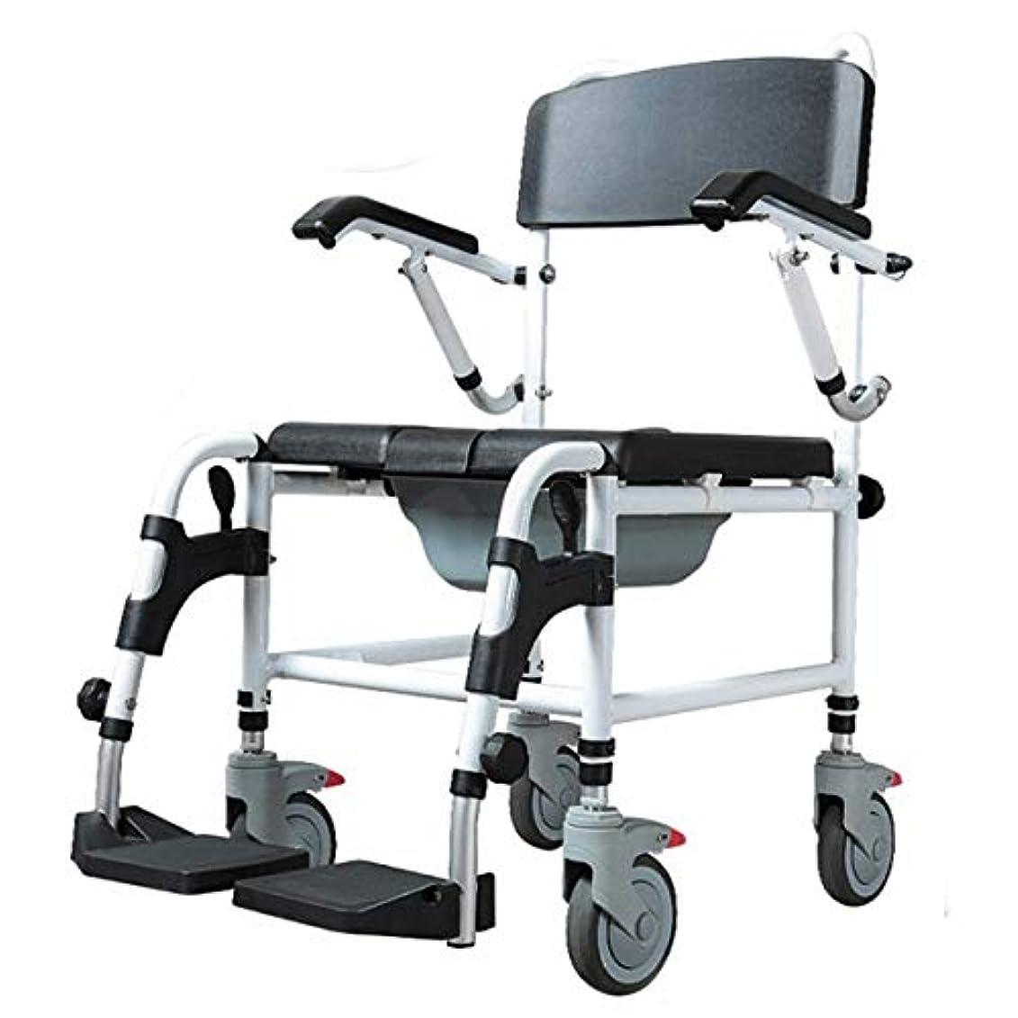 友だち上に築きますおびえた高さ調節可能な車椅子、折りたたみ式シャワー便器椅子、可動式トイレ無効便座、快適で丈夫、ハンドブレーキとペダル/黒