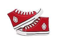 Fanstown KPOP 韓流 チームロゴの赤い高いヒールのフラットキャンバス靴 スニーカー デッキシューズ (PENTAGON)
