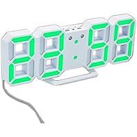 格木致尚 3D LED 壁掛け シンプル ウォールクロック デジタル 時計 (ホワイト本体+グリーンライト)