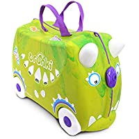 Trunki Ride On Suitcase for Kids, Saurus Rex, Green