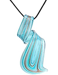 Murano Glass Aqua Blue Twisted Curl Necklace Pendant