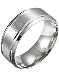 VPbao High Polished Stainless Steel Simple Men's Ring Wedding Band Comfort Fit