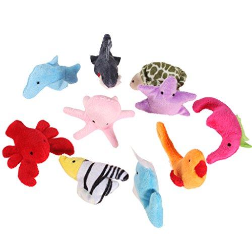 10pcsセット 指人形セット フィンガーパペット 海の動物...