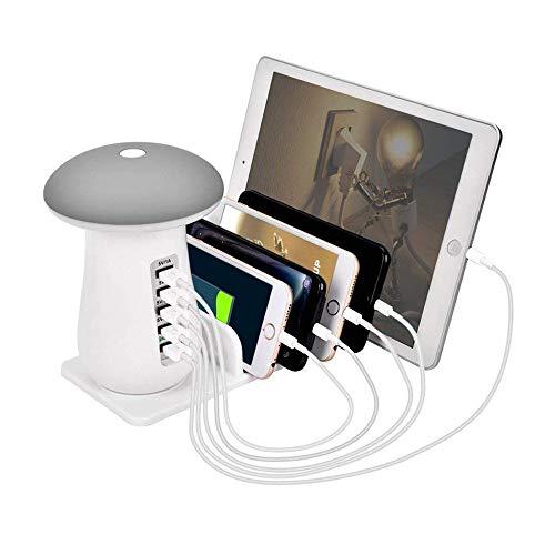 充電ステーション 急速充電 充電スタンド 5ポート 収納 usb充電器 LEDテーブルランプ かわいい キノコ iPhone iPad Android スマホ タブレット 5台同期 ホワイト