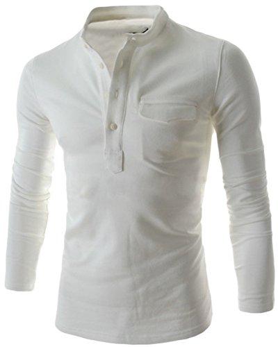 (コズーン)KO ZOON B18 メンズ シャツ スタンドカラー 長袖 Tシャツ カットソー 前開き ボタン 胸 ポケット トップス メンズファッション M ~ XXL 大きいサイズ も (ホワイトM)