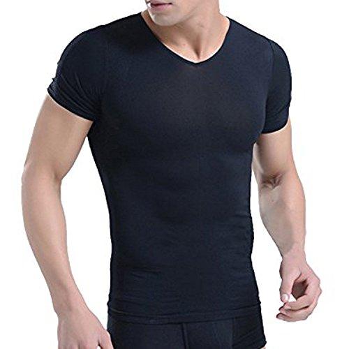 加圧Tシャツ メンズ 背筋補正 スポーツ インナー コンプレッションウェア 男性 姿勢補助 サポーター Vネック 黒 補正下着 ダイエット 猫背対策 半袖 L (ブラック)